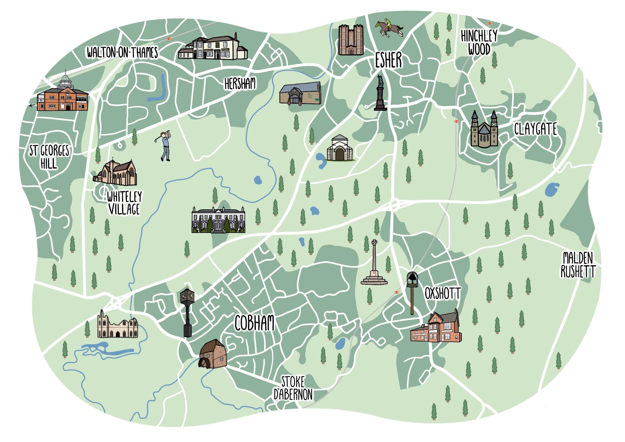 Esher & Cobham map